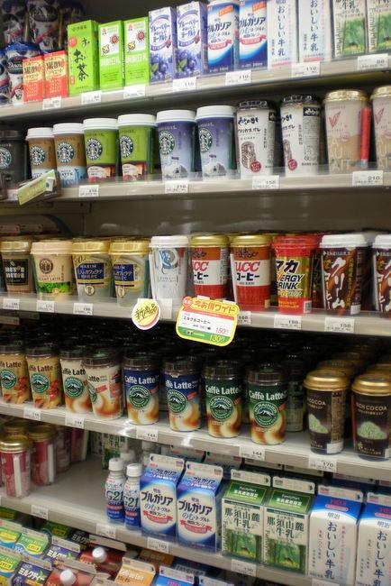 convenient store drinks selection