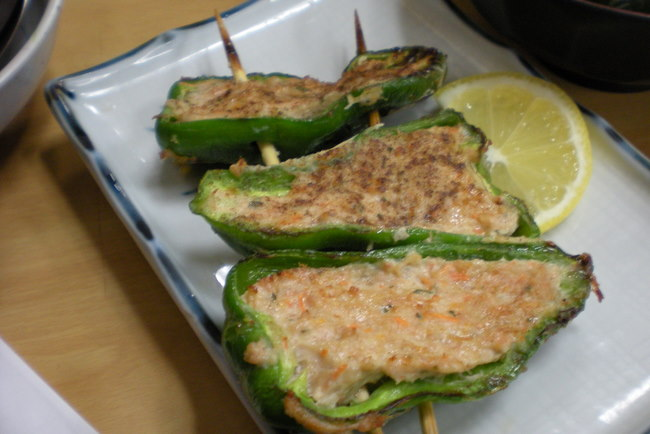 grilled capsicum stuffed with minced chicken