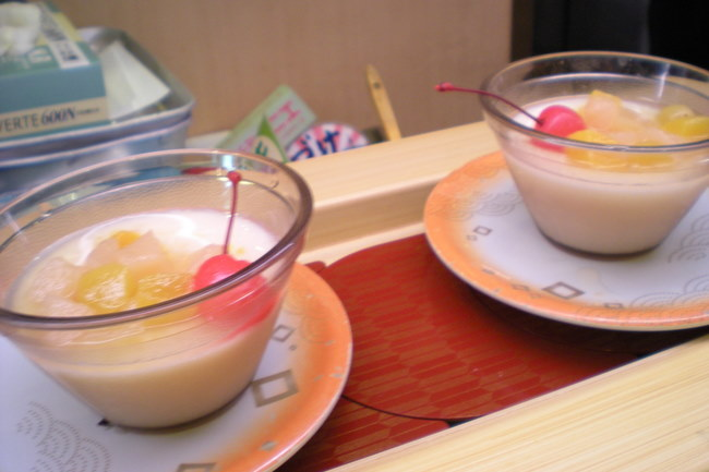pudding and fruit salad
