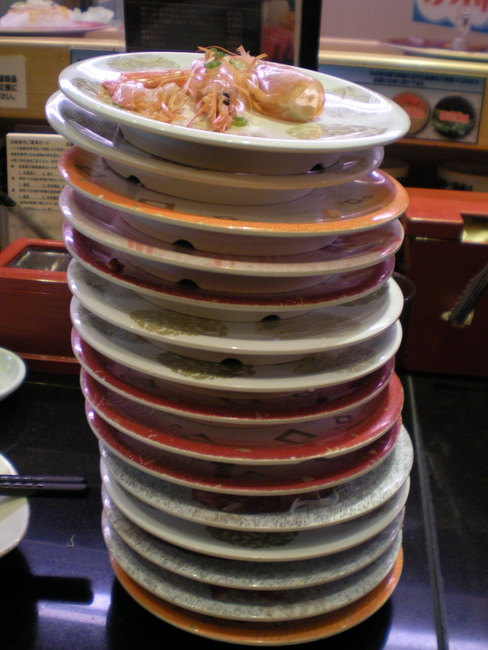 sushi plate tower