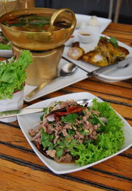 larb ped spicy minced duck salad